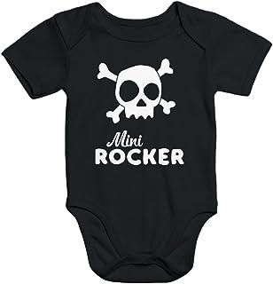 MoonWorks Kurzarm Baby-Body mit Aufdruck Mini Rocker Totenkopf Bio-Baumwolle