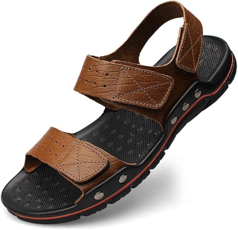 FuweiEncore herrar Summer Anti -Slip Flip Flip Flip Flops Casual Leather Sandals (två typer av te) (färg  Khaki, Storlek  38)  kvalitetsprodukt