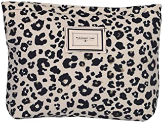 LYDZTION Leopard Print Makeup Bag Cosmetic Bag for Women,Large Capacity Canvas Makeup Bags Travel Toiletry Bag Accessories...