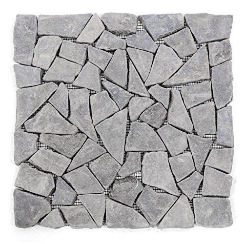 Divero 11 Fliesenmatten Naturstein Mosaikfliesen aus Marmor für Wand und Boden grau á 30 x 30 cm