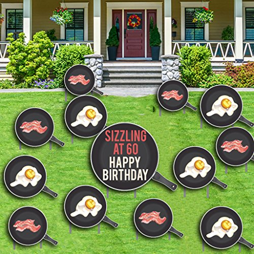 Birthday Yard Cards –Sizzling at 60-26 Stakes- 60th Birthday Decoration - Bacon and Eggs