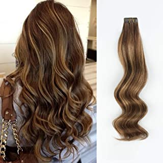 ABH AmazingBeauty Hair Semi-permanent Pre-taped Double Sided Rooted highlight tape hair extensions, Real Remy Human Hair, Chocolate Brown-Caramel Blonde with Chocolate Brown Root R4-4-27, 18 Inch