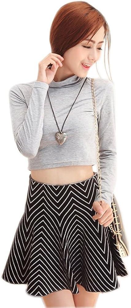 [Black&White Strapes] Ladies' Weave Flare Skirts Women's Fashion Skirts