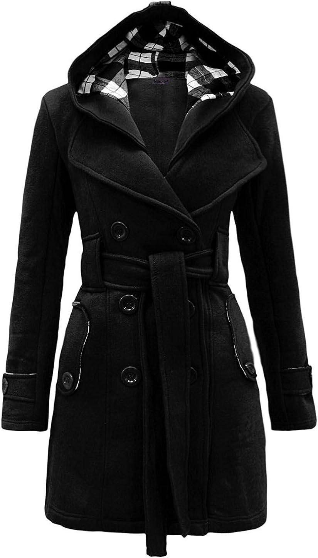 Minetom Damen Herbst Winter Lange Mantel Mit Kapuze Gürtel Militärstil Zweireihig Jacke Outwear Staubmantel Trenchcoat Plus Größen Schwarz