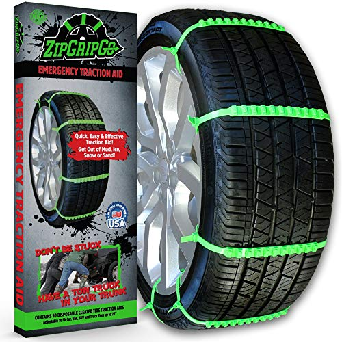 New! ZipGripGo Emergency Zip Tie Car Tire Traction Chains - Disposable Plastic Studded Cables for Snow, Ice, Sand or Mud.