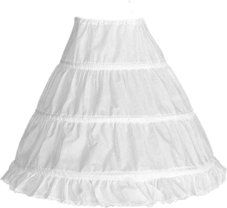 Edress Girls' 3 Hoops Petticoat Full Slip Flower Girl Crinoline Skirt