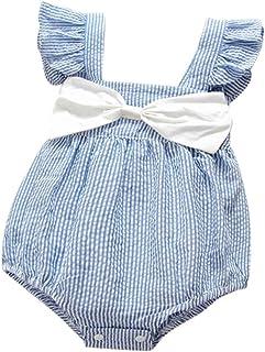 3e6854383 Vestidos Bebé,Switchali Niñito Infantil Recién nacido Bebé Niña Verano  Cabestro rayas Mono algodón Floral