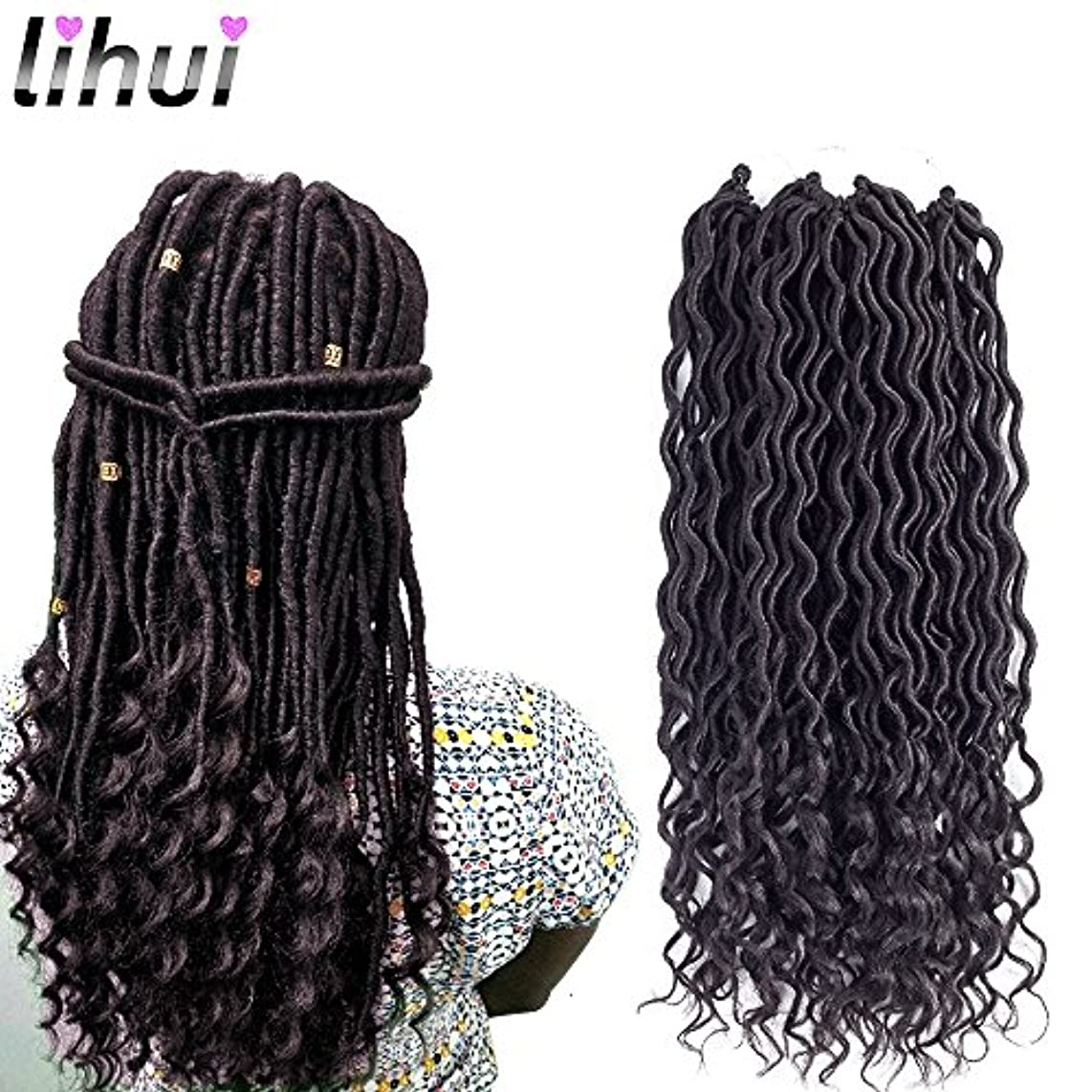 Lihui 6pcs/lot Goddess Locs Crochet Hair Wavy Faux Locs with Curly Ends Synthetic Braiding Hair Extension (14inch(6-PACKS), 2)