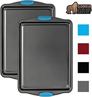 Gorilla Grip Premium Non Stick Baking Cookie Sheets, Bakeware Set of 2, Aqua Silicone Handles, Multi Purpose Professional 2-Piece Pan for Bakers and Cooks, Half Sheet Pans 17.5 Inch x 11.75 Inch