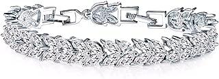 Felvy 18K White Gold Plated Crystal Bracelet 17 Cms In A Luxury Velvet Gift Box For Women
