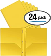 Better Office Products Yellow Plastic 2 Pocket Folders with Prongs, Heavyweight, Letter Size Poly Folders, 24 Pack, with 3 Metal Prongs Fastener Clips, Yellow