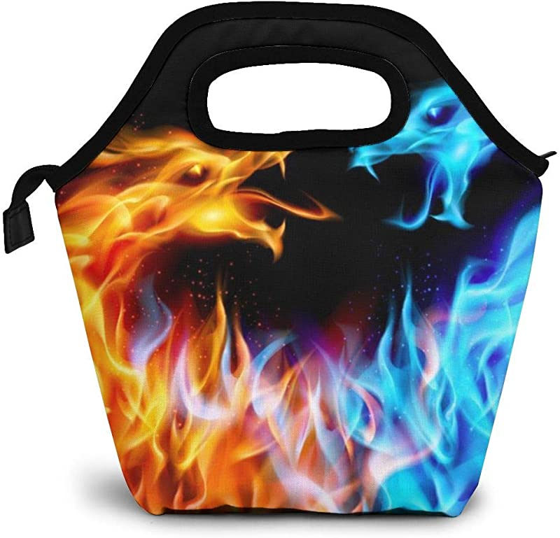 Lunch Tote Bag Blue Red Fiery Dragon Abstract Waterproof Reusable Durable Insulated Lunch Boxes For School Work