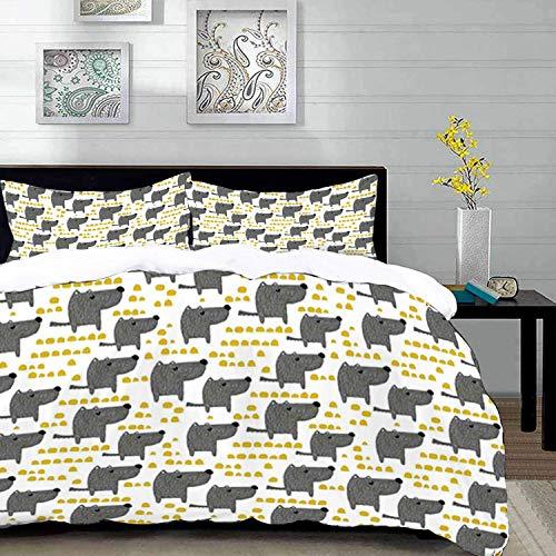 ropa de cama - Juego de funda nórdica, perro, estilo canino con puntos abstractos en tonos amarillos Mascotas de dibujos animados en escala de grises, caléndula gris wh, juego de funda nórdica de micr