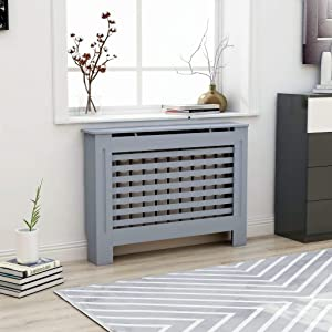 INLIFE Heating Cover Cabinet,MDF Radiator Cover with Water Base and Smooth Top,Slats Heating Cabinet for Living Room,Bedroom,Home 44.1