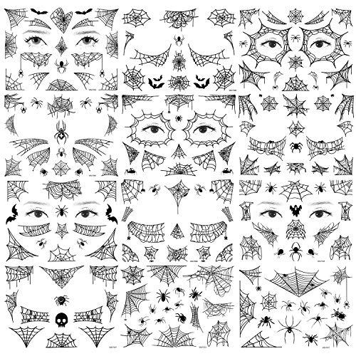Qpout 12 Halloween Spinnen Tattoos mit Spinnennetz Gesicht tattoo - Gesicht Schulter Arm zurück Gefälschte Tattoos Aufkleber für Frauen Mädchen Halloween Make-up und Cosplay Zubehör