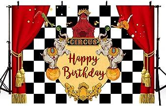 MEHOFOTO - Fondo para estudio de fotografía de carnaval de circo, color rojo con diseño de elefante, vintage, para decoración de cumpleaños de niños, color blanco y negro, para fotografía, 7 x 5 pies