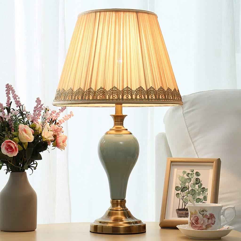 Seven stars Lámpara de Mesa de luz Cerámica - T405 Dormitorio Americano Junto a la Cama Personalidad Creativa Moda Cálido Romántico 56 cm Lámparas de la Sala de Bodas (Color : Lace):