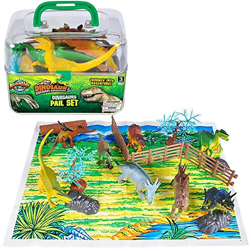 The Dreidel Company Dinosaur Pail Set Animal Toy, Mesh Bag Play Set, Toy for Kids, 20 Pieces