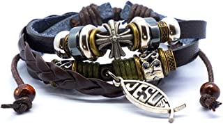 Best jesus leather bracelet Reviews