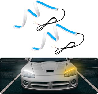 2PCS Luces de Circulación Diurna 60cm, 300LED Tira de luces LED para coche, IP65 Impermeable Tiras de Luces LED DRL 12V para Coche Tira del Faro DelanteroSeñal de giro
