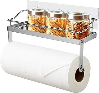Oriware Support pour Papier Essuie-Tout avec Étagère Porte Rouleau de Cuisine Salle de Bains Toilette Acier Inoxydable - P...