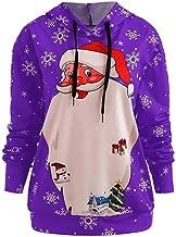 E-Scenery Fashion Hooded Womens Merry Christmas Printed Tops Long Sleeve Blouse