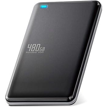 エレコム 外付けSSD ポータブル 480GB USB3.0 USB3.1(Gen1) TLC 小型 軽量 名刺サイズ ブラック ESD-ED0480GBK