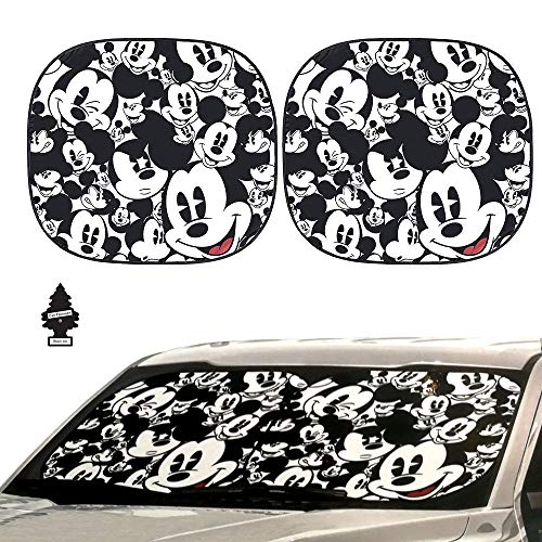 Yupbizauto Auto Car Windshield Sunshade with Disney Mickey Expressions Design 2 Piece with Gift