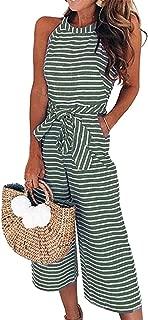 2019 Women's Striped Sleeveless Waist Belted Zipper Back Wide Leg Loose Jumpsuit Romper with Pockets