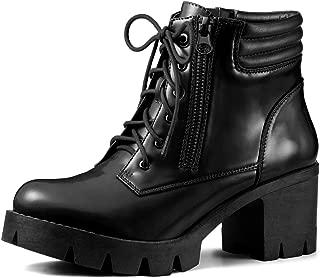 Allegra K Women's Leopard Printed Chunky Heel Combat Boots
