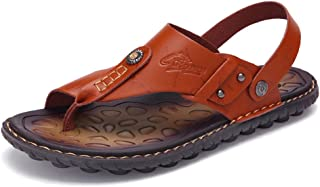 Mens Sandals Slippers Slip On Flip Flops for Men Shoes Leather Toe Ring Style Beach