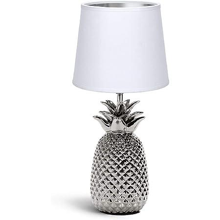 Aigostar - Lampe de Chevet, Lampe en Céramique, Douille E14 Forme d'ananas en argenté, Lampe Ananas, Abat-jour en Tissu, Lampe de Bureau Design Moderne, H36cm