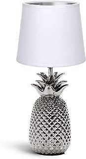 Aigostar - Lampe de Chevet, Lampe en Céramique, Douille E14 Forme d'ananas en argenté, Lampe Ananas, Abat-jour en Tissu, L...