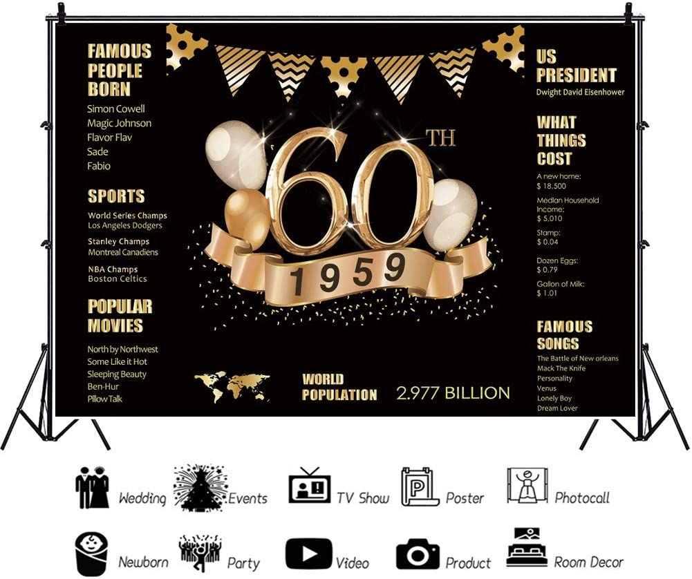 15x10ft Vinyl 60th Birthday Photography Backdrop 60th Anniversary Decorations Poster 1959 Sign 60th Birthday Black Gold Backdrop Party Decoration Important Events Commemoration Photo Prop