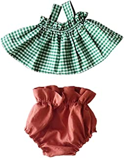 Huarll Baby Toddler Girl Clothes Solid Shorts Bloomer 2 Pcs Outfit Set Super Cute Plaid Suspender Tank Top Skirt