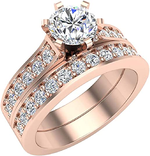 Details about  /1.54 ct Round cathedral Yellow Stone Promise Bridal Wedding Ring 14k Rose Gold