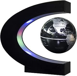 3 Inch Floating Globe C Shape Magnetic Levitation Globe Maglev Globes World Map with LED Light for Teaching Home Office Desk Decoration (Black)