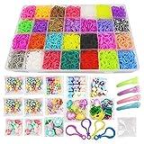 Kin Loya Loom Rubber Band Bracelt Making Kit for Kids, Loom Kit 10000pcs Loom Bands Refill, 10 Packs S Clips, 5 Packs Beads, 4 Packs Charms , 4pcs Hair Clips, 4pcs Resin Buttons, 4pcs Backpack Hooks