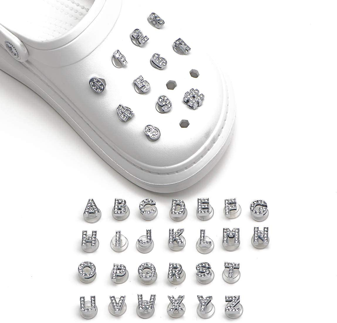 OROTER Shoe Charms Fits for Clog Sandals Decoration with Wristband Braceletfor Kids Boy Girls Men Women Party Favors Birthday Gifts Numbers Letters 37Pcs Silver with Crystal