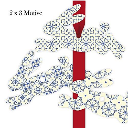 6 indigo hazen cadeauhangers gekleurd, decoratieve slingers hanger in haasvorm 11,5 x 7 cm met blauwe patronen • voor het versieren van cadeauverpakking