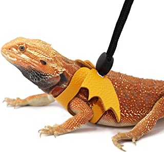 Reptile Harness Adjustable Bearded Dragon Harness Leash Leather Lizard Harness with Cool Wing for Reptiles Amphibians and Other Small Pet Animals, Medium Size