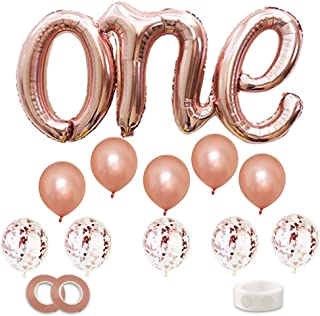 Rose Gold ONE Balloons Banner, Foil Mylar Balloon for 1st Birthday Party,Baby Shower,Wedding,Engagement,Anniversary Party...