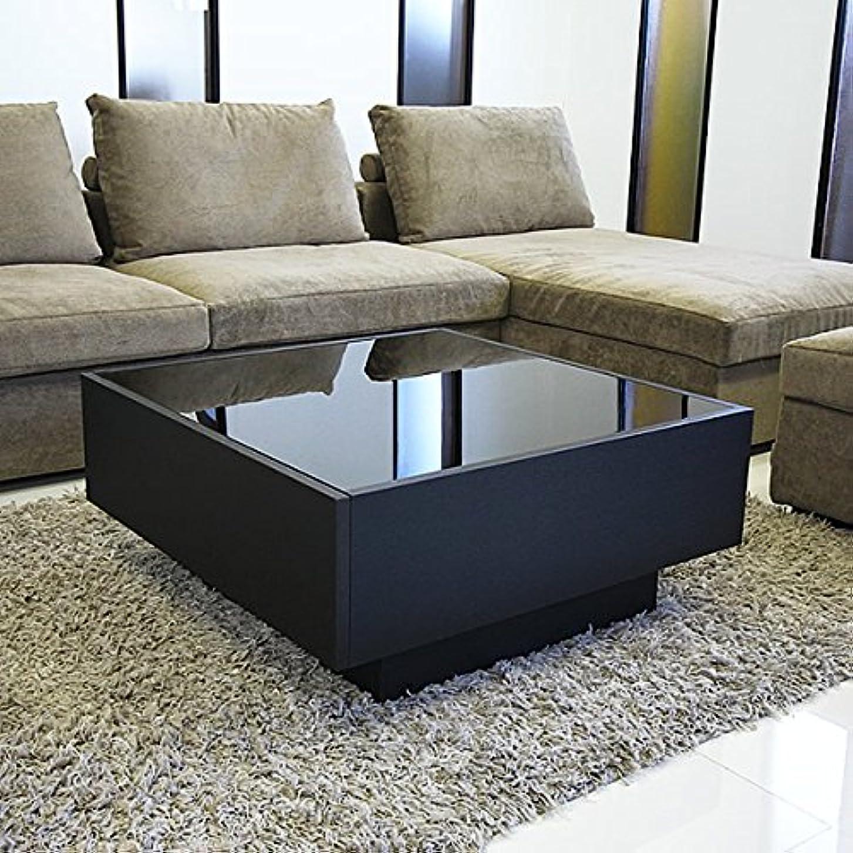 挑むつかいます粘着性GENERAL SHAPE(ジェネラル シェイプ) センターテーブル ガラステーブル ローテーブル コーヒーテーブル オークブラック 黒 木製 引き出し 収納 国産 完成品 [GS-BOXY GLASS TABLE / 80角 正方形/BK]