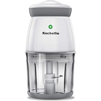 Wireless Portable Electric Food Processor,Kocbelle 200-Watt Small mini Food Processor & Vegetable Chopper 2.5 Cup 20 Oz Glass Bowl with Scraper for Blending, Mincing and Meal Preparation