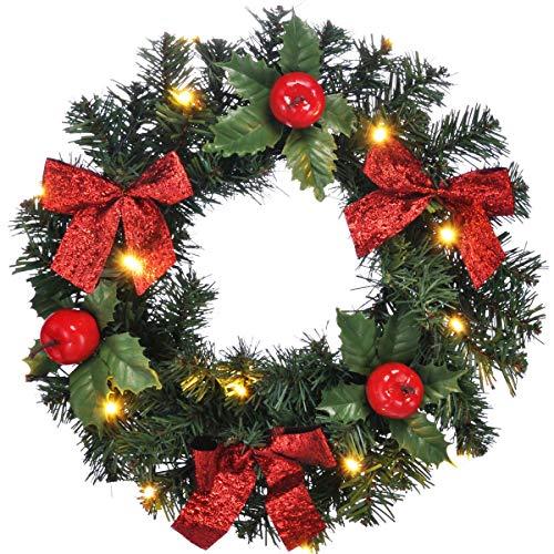 bonsport Weihnachtskranz für Tür beleuchtet - Türkranz mit LED Beleuchtung - Tannenkranz Türdeko Weihnachten 28 cm