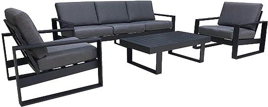 FurnitureOkay Manly 4pc Aluminium Outdoor Lounge Setting Patio Furniture Set