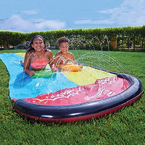 Slip and Slide, 16 FT Water Slide for Kids Slip n Slide with 2 Surfboards & 2 Sliding Racing Lanes, with Splash Sprinklers, Outdoor Summer Water Toy for Backyard, Lawn, Garden, Summer Water Party