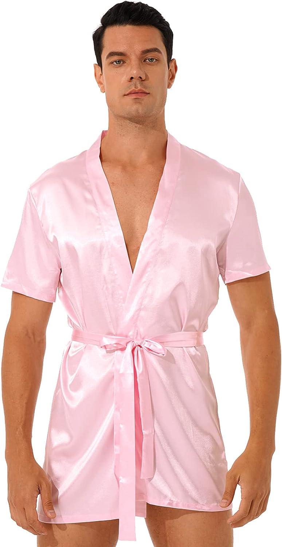 Selling and selling Mufeng Men' Satin Kimono Robe Silk Phoenix Mall Short Classic S Bathrobe Belt