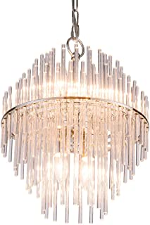 Pendant Lighting with Glass Bars Shade Adjustable Hanging...