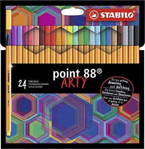 Caneta Hidrográfica Stabilo Point 88 Arty, Estojo com 24 cores